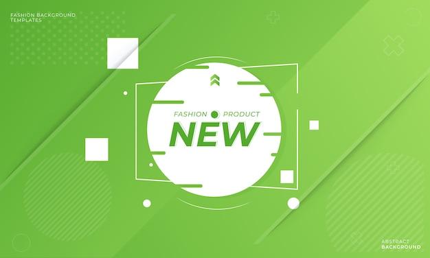 Świeży zielony sztandar promocji mody, gradient zielony