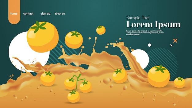 Świeży żółty sok pomidorowy płyn rozchlapać realistyczne plamy zdrowe owoce rozpryskiwania fale poziome miejsce
