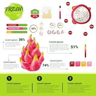 Świeżych organicznych infografiki naturalne owoce wzrostu, rolnictwa i rolnictwa