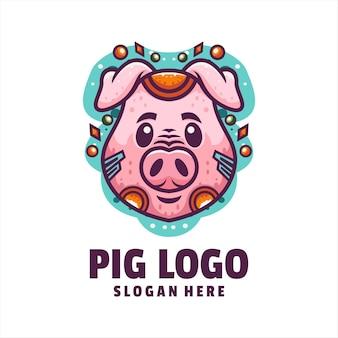 Świnia cyborg kreskówka logo wektor