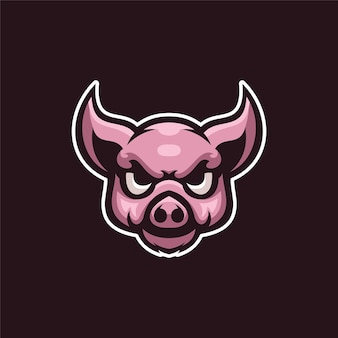 Świnia głowa zwierzęcia kreskówka logo szablon ilustracja esport logo gry wektor premium