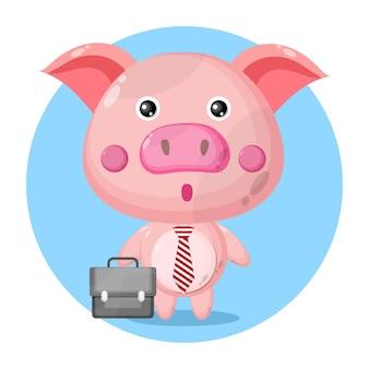 Świnia idzie do pracy urocza postać
