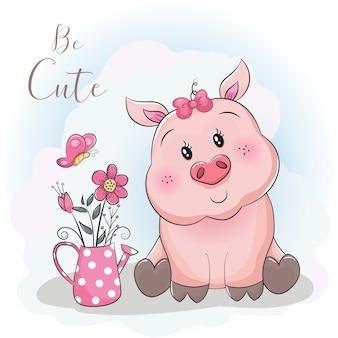 Świnia kreskówka i kwiat z nieba tle