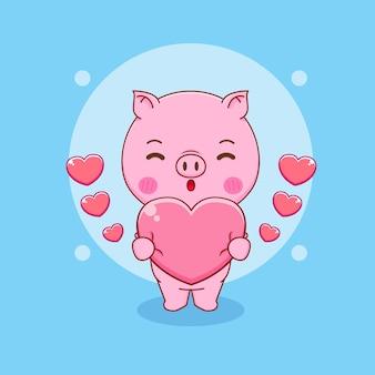Świnia kreskówka przytulająca serce miłości
