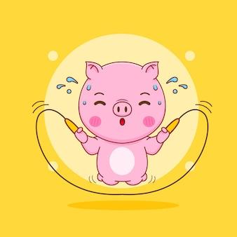 Świnia skacząca kreskówka skakanka