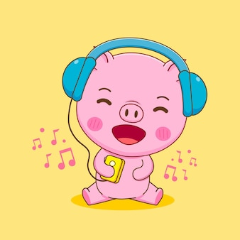 Świnia słuchająca muzyki z kreskówką ze słuchawek