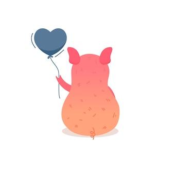 Świnia śpi na żołądek ilustraci.