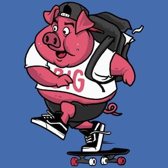 Świnia szkoła ilustracja skateboarding