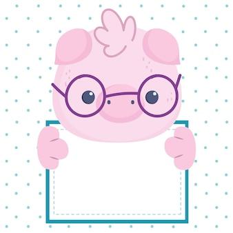 Świnia trzyma pustą tablicę