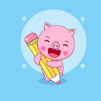 Świnia trzymająca duży ołówek kreskówka