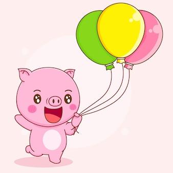 Świnia trzymająca kolorowy balon kreskówka