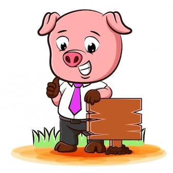 Świnia ubrana jak biznesmen stoją na drewnianym znaku