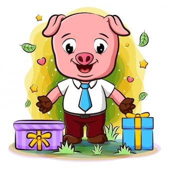 Świnia w stroju biznesmena z wieloma prezentami
