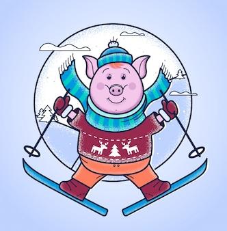 Świnia w zimie skacze z trampoliny na nartach