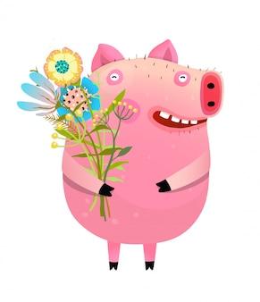Świnia z bukietem kwiatów