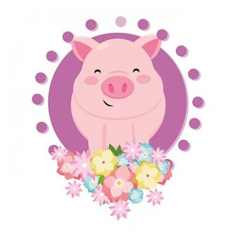 Świnia z kwiatem