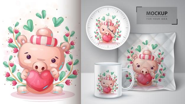 Świnia z plakatem w kształcie serca i merchandisingiem.
