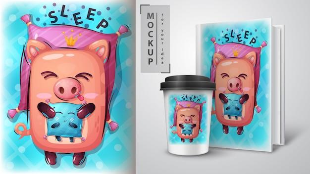 Świnia z poduszką i merchandisingiem