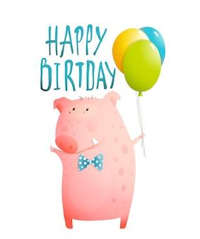 Świnia z życzeniami wszystkiego najlepszego dla dzieci