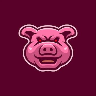 Świnia zwierzęca głowa kreskówka logo szablon ilustracja. gry z logo e-sportu premium wektor