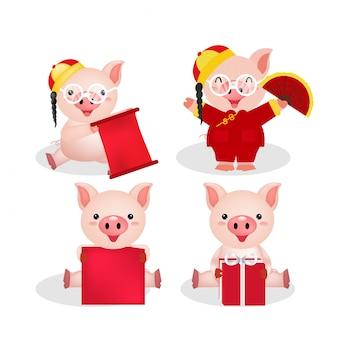 Świniowaty charakter świętowania chińczyka nowy rok