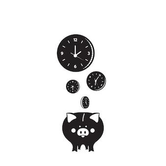 Świnka skarbonka. czas to pojęcie pieniądza. zegarek na tarczy.
