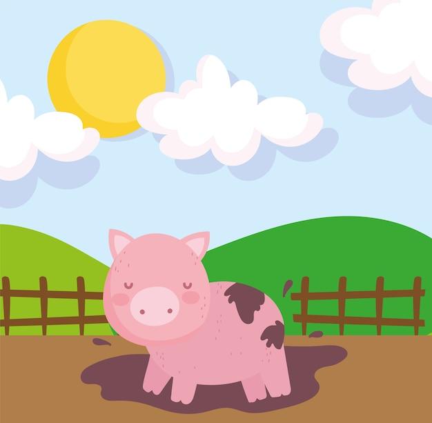 Świnka w błocie drewniany płot niebo zwierzęta gospodarskie