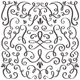 Swirled vintage ornament, swirling border and simple frame.