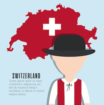 Swiss man i swiss country map icon