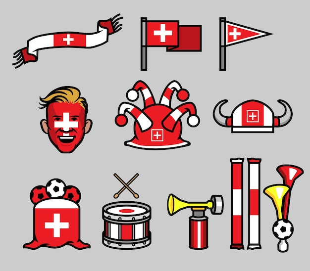 Swiss soccer supporter gear set
