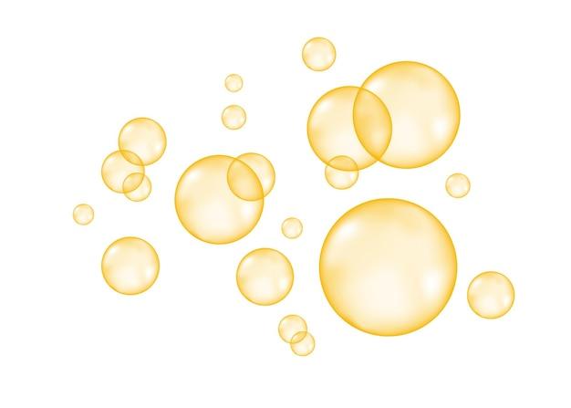 Syczeć. musujące złote bąbelki powietrza na białym tle. tekstura wektor.