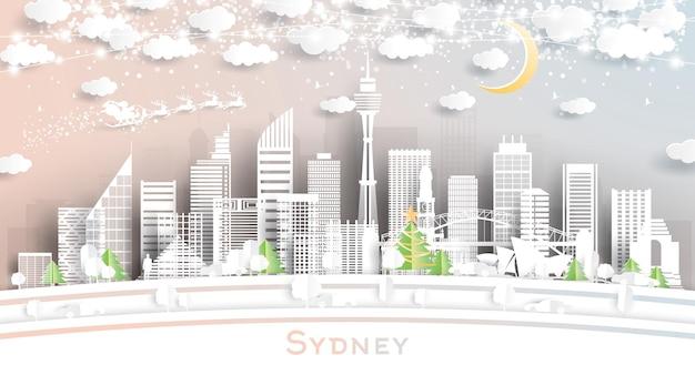 Sydney australia city skyline w stylu paper cut z płatkami śniegu, księżycem i neonową girlandą. ilustracja wektorowa. koncepcja boże narodzenie i nowy rok. święty mikołaj na saniach.