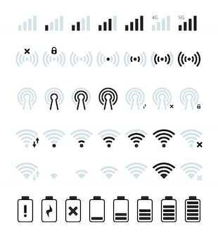 Sygnał telefonu komórkowego. ikona połączenia z siecią wi-fi i telefonem komórkowym