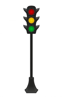 Sygnalizacja świetlna dla ilustracji wektorowych samochodów