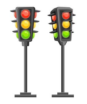 Sygnalizacja świetlna. pionowe sygnały drogowe z czerwonym, żółtym i zielonym światłem. . ilustracja