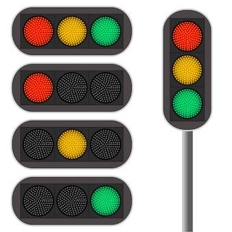 Sygnalizacja świetlna. podświetlenie led. kolor czerwony. ciągły ruch na zielonym świetle. samochody na skrzyżowaniu. zasady ruchu drogowego. ilustracja wektorowa.