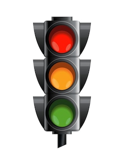 Sygnalizacja świetlna w kolorze czerwonym, żółtym i zielonym.