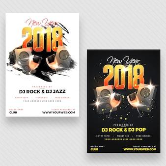Sylwester 2018 plakat imprezowy, projekt banner lub flyer design z dwiema opcjami koloru.