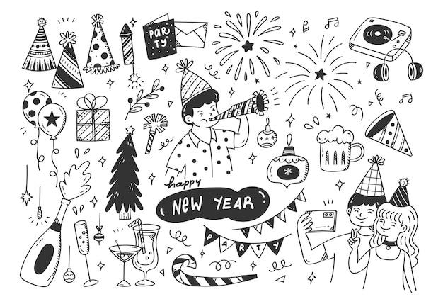 Sylwester party doodles ilustracja