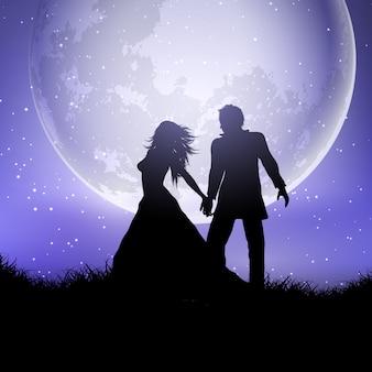 Sylwetka ślub para przeciw moonlit niebu