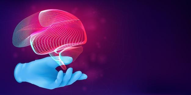 Sylwetka 3d ludzkiego mózgu na dłoni lekarza w realistycznej gumowej rękawiczce. anatomiczna koncepcja medyczna z konturem ludzkiego narządu na abstrakcyjnym tle. ilustracja wektorowa w stylu neonowym lineart