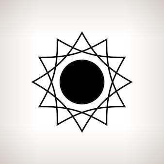 Sylwetka abstrakcyjne słońce na jasnym tle, czarno-biała ilustracja wektorowa