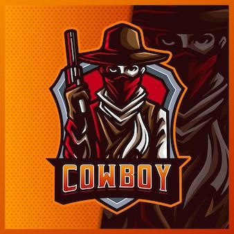 Sylwetka amerykański kowboj western bandyta strzelca maskotka esport logo projektowanie ilustracji szablon wektor, logo samuraja dla gry zespołowej streamer youtuber banner twitch discord