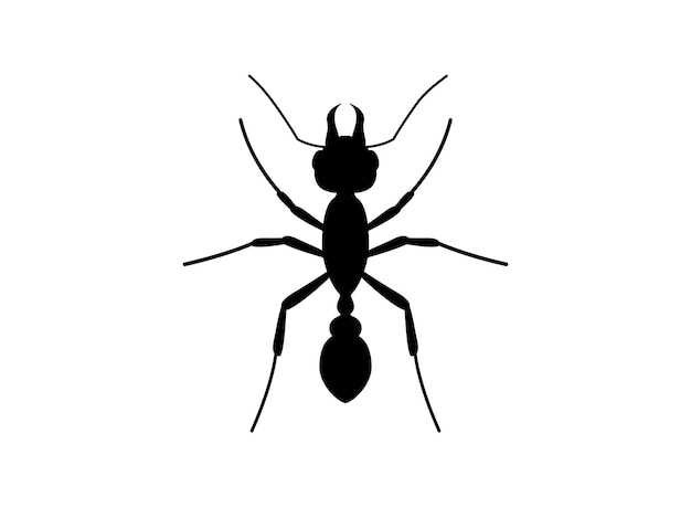 Sylwetka ant widok z góry. szablon logo mrówki. symbol owada. ilustracja wektorowa