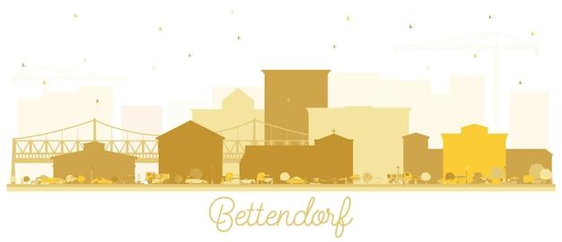 Sylwetka bettendorf iowa goldenskyline. ilustracja wektorowa. prosta koncepcja płaskiej prezentacji turystycznej, baneru, afiszu lub witryny sieci web. koncepcja podróży służbowych. gród bettendorf z zabytkami.