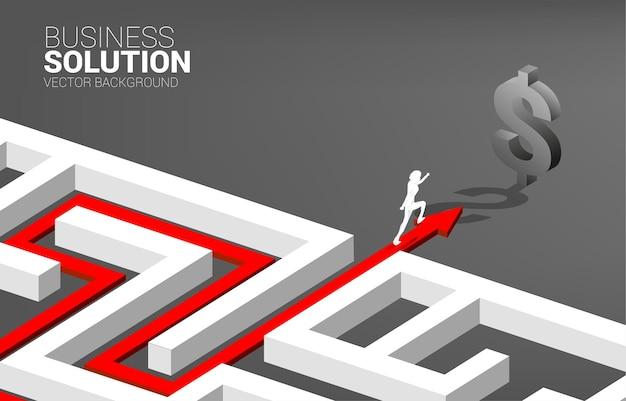 Sylwetka biznesmen działa na ścieżce trasy, aby wyjść z labiryntu do ikony dolara. koncepcja misji biznesowej i sposób na zysk firmy