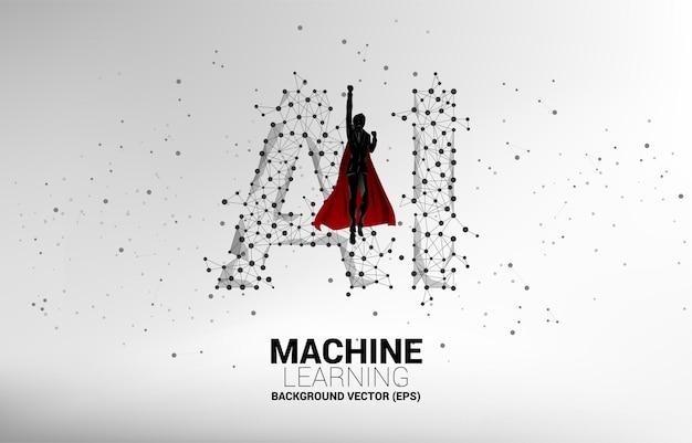 Sylwetka biznesmen latać z uczeniem maszynowym kropka połączyć tło linii. koncepcja biznesowa uczenia maszynowego i sztucznej inteligencji ai