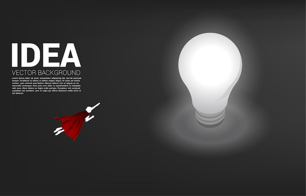 Sylwetka biznesmen latający do żarówki. koncepcja biznesowa kreatywny pomysł i rozwiązanie.