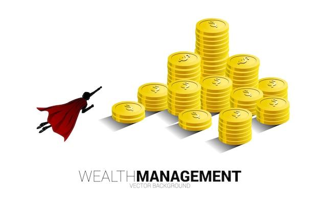 Sylwetka biznesmen latający na górę stosu monet. koncepcja sukcesu inwestycji i wzrostu w biznesie