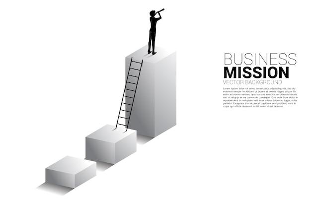 Sylwetka biznesmen patrząc przez teleskop stojący na wykresie trendu biznesowego. koncepcja biznesowa dla misji i znalezienie trendu.